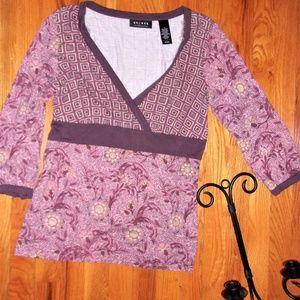 Medium large womans boho paisley tunic shirt top